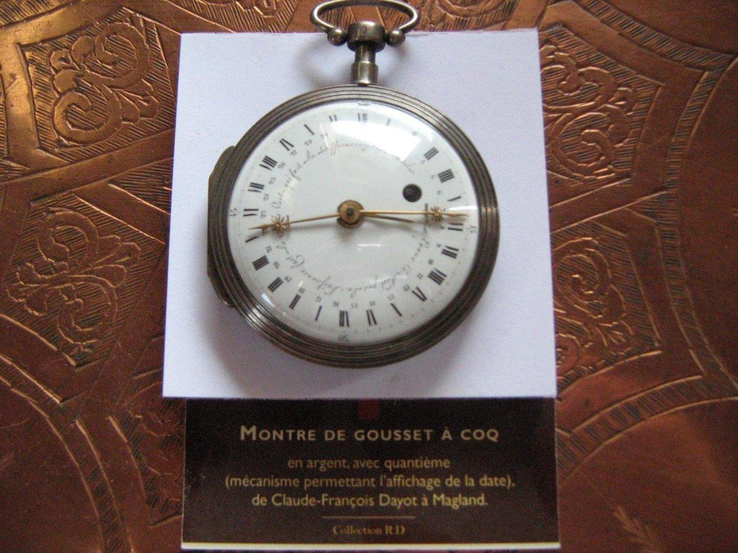 Montre a gousset a coq,donne les quantièmes du mois sur 31 jours, tour de cadran en 24 heures,boitier en argent, fabrication période Napoléon 1°