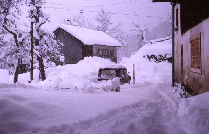 Hiver à Chéron dans les années 1980.